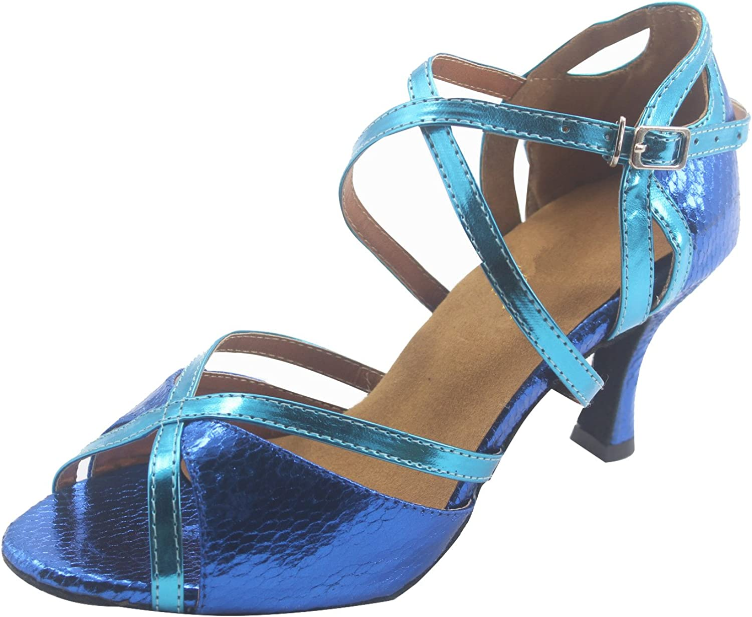 MsMushroom Woman's Shinning Patent Leather Party shoes 2.5''heel,bluee