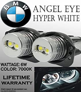 eBoTrade ONE Pair E90, E91,63117161444 BMW Angel EYE Halo Ring LED Bulbs 7k White