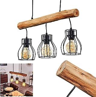 Suspension Gondo en métal noir et bois, lampe pendante à hauteur ajustable pour 3 ampoules E27 max. 40 Watt, compatible am...