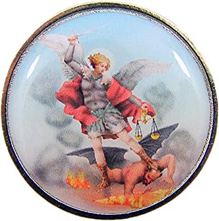 Religious St Michael Archangel Pocket Medal with Prayer Back, 1 1/4 Inch