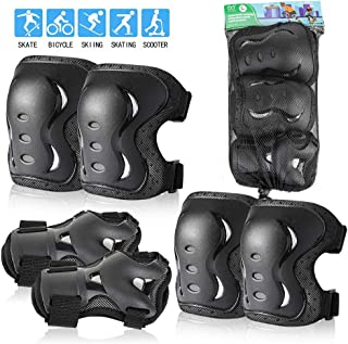 Kids/Youth/Adult Knee Pads Elbow Pads with Wrist Guards Protective Gear Set 6 Pack for Rollerblading Skateboard Cycling Skating Bike Scooter Riding Sports