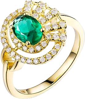 Daesar Anelli Oro Giallo 18K, Anello Matrimonio Donna Vuoto 0.69ct Smeraldo Ovale con Diamante 0.31ct Anelli in Oro Giallo...