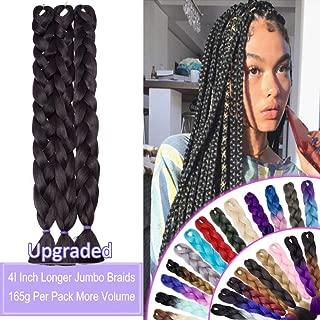 41 Inch Super Long Jumbo Braids Hair Extensions High Temperature Synthetic Hair for Black Women African Box Braiding Hair for Senegal Twist 165g/pack Dark Brown