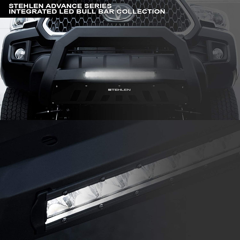 2000-2004 Excursion Stehlen 733469493808 Advance Series Aluminum LED Bull Bar Matte Black For 1999-2004 Ford F250 F350 F450 F550 Superduty