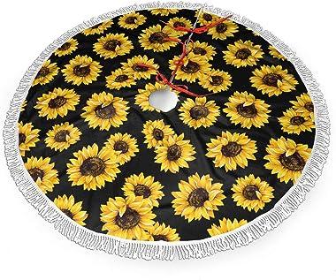 AHOOCUSTOM Christmas Tree Skirt Sunflowers Tree Mat with Tassel Xmas Tree Ornament Christmas Decoration Accessory 36 Inch