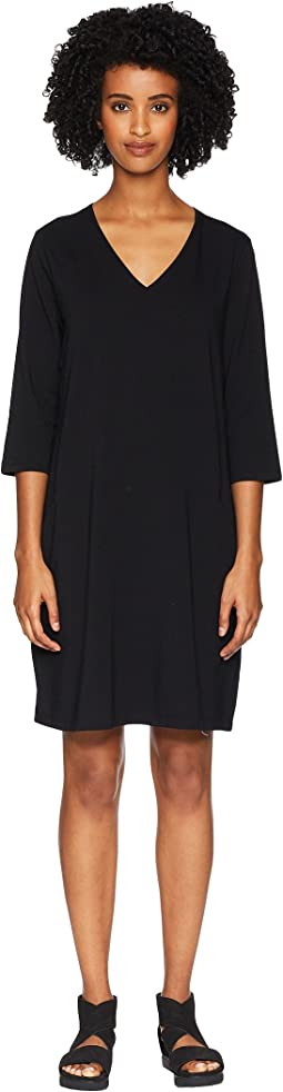 Organic Cotton Stretch Jersey V-Neck 3/4 Sleeve A-Line Dress