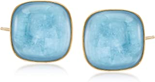30.00 ct. t.w. Square Milky Aquamarine Earrings in 14kt Yellow Gold
