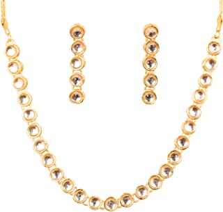 """Touchstone""""Contemporary Kundan Collection"""" Indian bollywood elegant Kundan polki look light jewelry necklace set in gold t..."""
