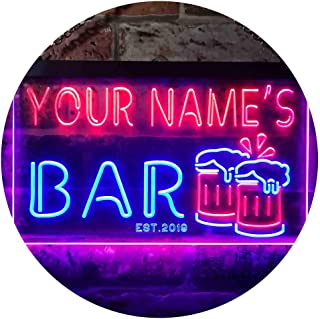 Personalized Your Name Est Year Theme Bar Beer Mug Decoration Dual Color LED Neon Sign Blue & Red 300 x 210mm st6s32-w1-tm-br