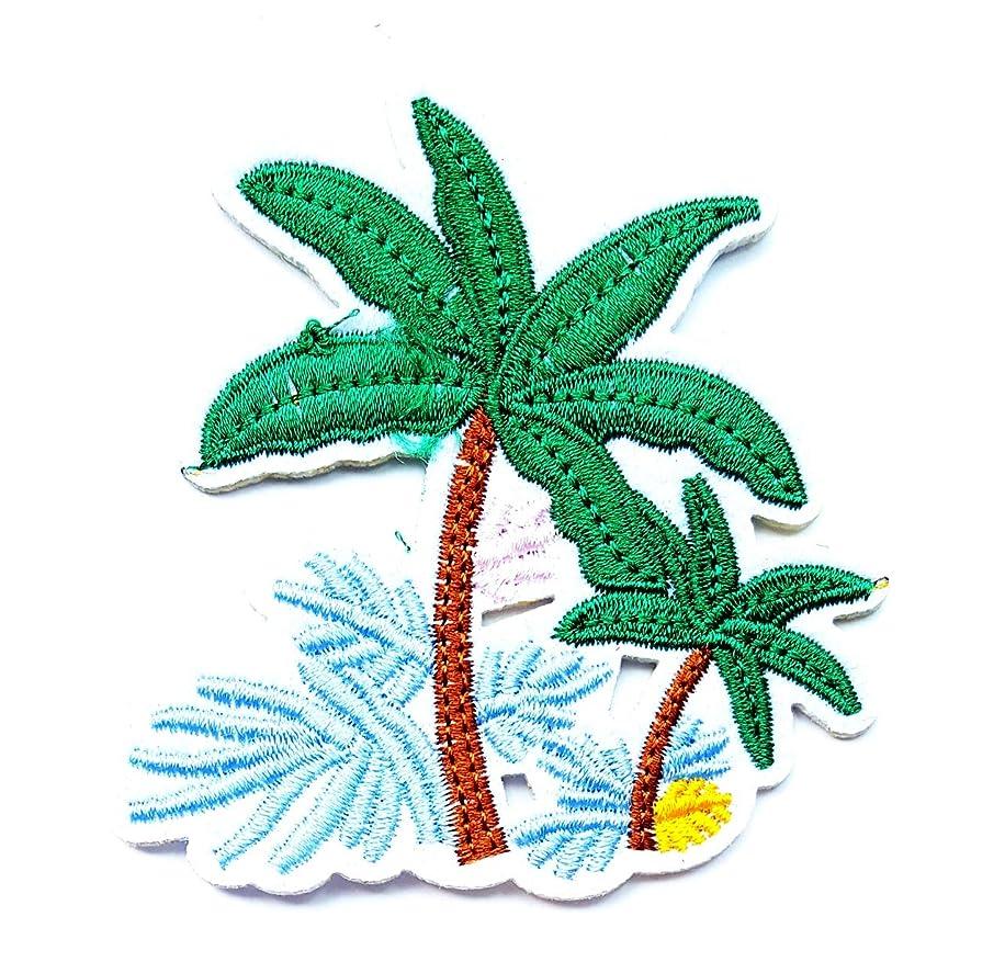 Coconut Palm Tree Summer Beach Sea Ocean Island Cartoon Children Kid Patch Clothes Bag T-Shirt Jeans Biker Badge Applique Iron on/Sew On Patch