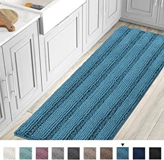 Striped Luxury Chenille Bathroom Rug Mat Runner Oversized 59x20 Inch Extra Soft and Absorbent Shaggy Rugs Dry Extra Long Plush Carpet for Bathroom/Kitchen Machine Washable, Turquoise Blue