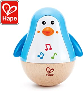 Hape Penguin Musical Wobbler   Colorful Wobbling Melody Penguin, Roly Poly Toy for Kids 6 Months+