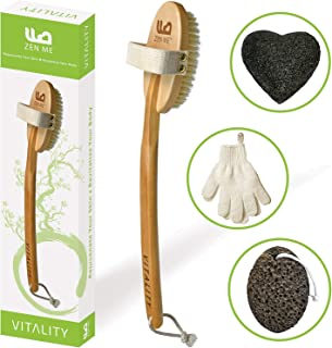 Premium Dry Brushing Body Brush for Exfoliating Dry Skin to Get Glowing Tighter Skin - Body Brush Set Includes Exfoliator Gloves, Pumice Stone and Konjac Sponge