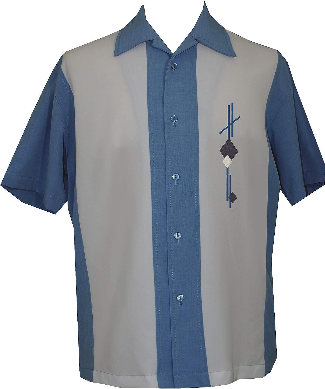 Lucky Paradise Mens Camp Shirt, Vintage Cuban Style Bowling Shirt ~ Guayabera Dress Shirt Style ~ Blue Oasis