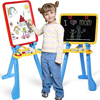 STEAM Life Art Easel for Kids 4 in 1 Magnetic Board, Chalkboard, Painting Easel, and..