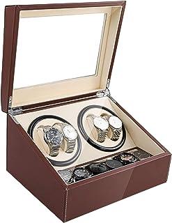 SHZICMY Automatic Watch Winder Display Box, 4+6 Leather Rotating Display Box Luxury Storage Case (USA Stock) (Brown)