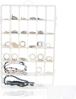 Clear Jewelry Box - Plastic Bead Storage Container, Earrings Storage Organizer with Adjustable Dividers, 36 Grids, 10.75 x 1.7 x 7 Inches