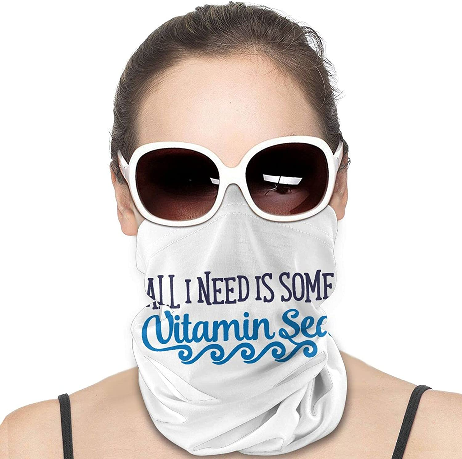 All I Need Is Some Vitamin Sea Round Neck Gaiter Bandnas Face Cover Uv Protection Prevent bask in Ice Scarf Headbands Perfect for Motorcycle Cycling Running Festival Raves Outdoors