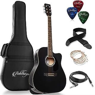 Ashthorpe Full-Size Dreadnought Cutaway Acoustic-Electric Guitar Bundle – Premium..