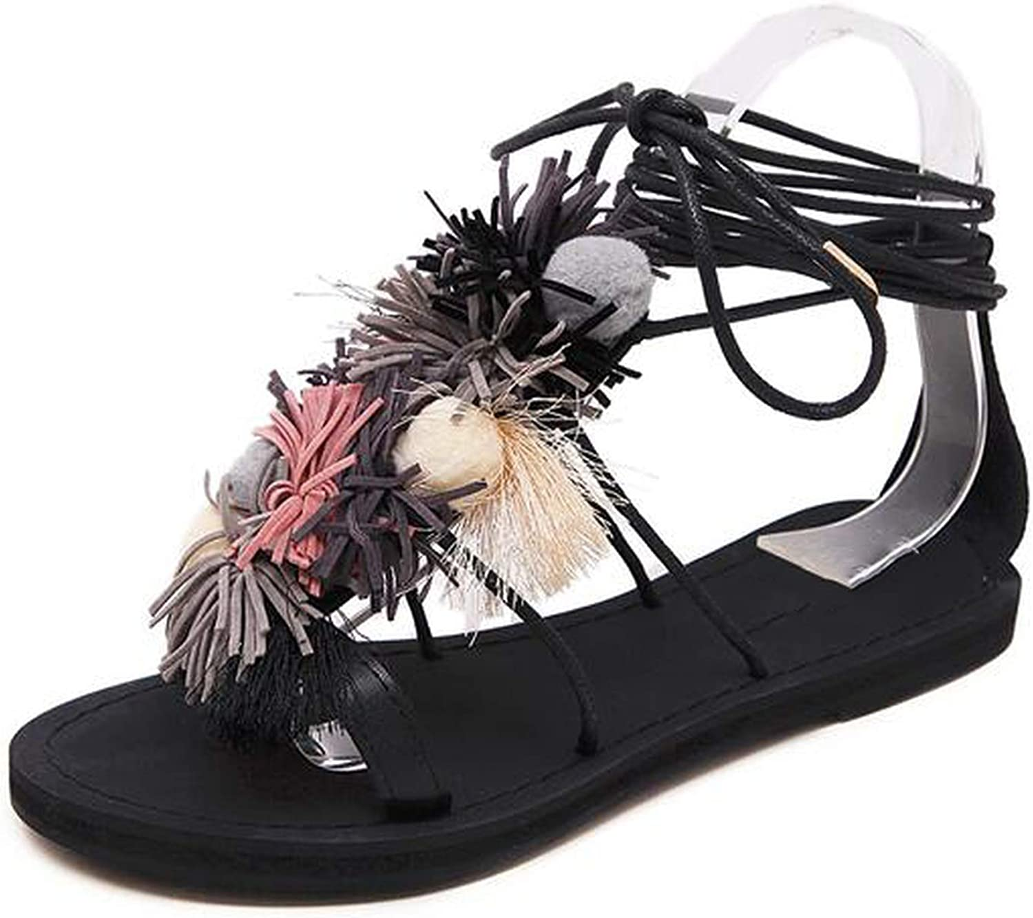 Flower Ball Pompom Sandals Sandals Flat with Roman High Lace Thong Flip Flop shoes Woman