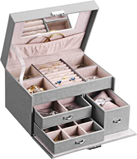 BEWISHOME 20 Section Jewelry Box, Jewelry Organizer Box with Lock, Girls Jewelry Box for Earrings,Rings,Necklaces,Cufflink...