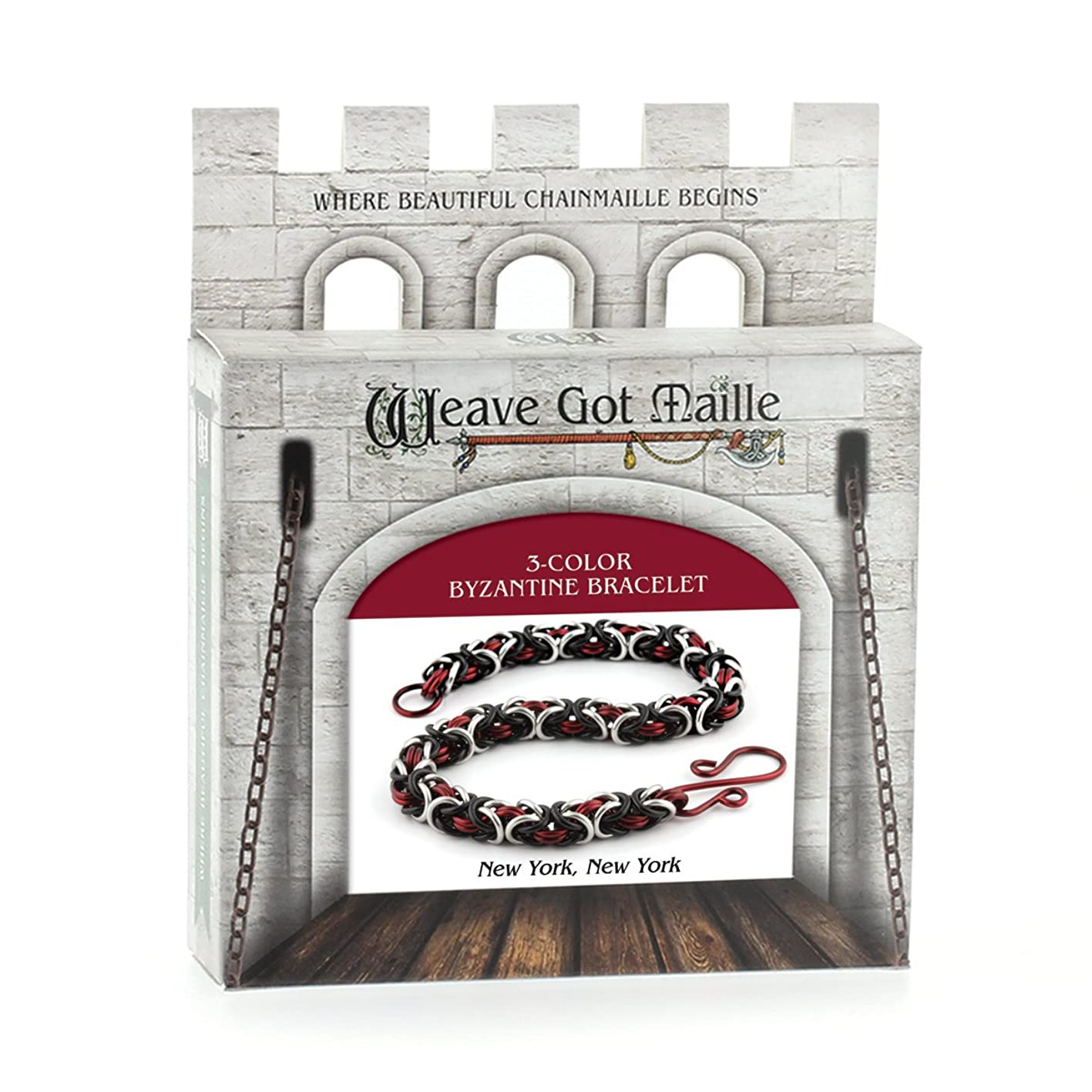 Weave Got Maille 3-Color Byzantine Chain Maille Bracelet Kit, New York New York blqgktkirsp065
