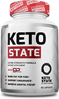 KetoState - Keto Pills with Exogeneous Ketones, MCT Oil, Apple Cider Vinegar (90 ct) - Powerful Advanced Keto Aid - Packed with Potent Keto BHB - for Men and Women (1 Month Supply)