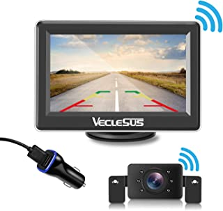 VECLESUS Wireless Backup Camera Kit with 149° Viewing Angle, 2.0 Starlight Night Vision, Easy Installation Licence Plate Backup Camera for Cars, Pickup Trucks, Cargo Vans, SUV, Truck Campers.