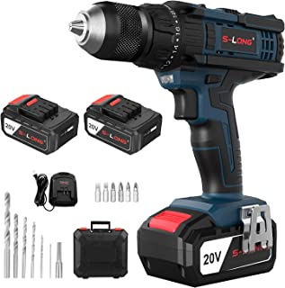 Cordless Drill with 2×3000mAh Batteries and Charger,20V Cordless Drill Driver Set with Hammer Function, 20+3 Torque Setting, 500 In-lbs Torque, 2-Variable Speed, 1/2