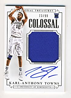 Karl-Anthony Towns 2015 Panini National Treasures Collegiate Colossal Jersey Auto 73/99