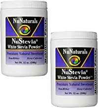 NuNaturals Nustevia White Stevia with Maltodextrin Powder, 12-Ounce (2-Pack)