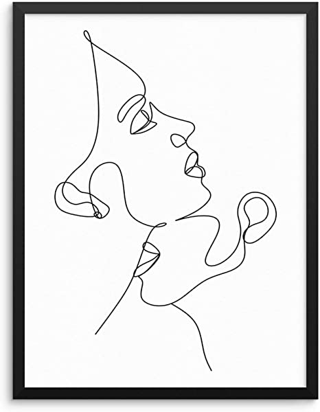 Amazon Com Sincerely Not Minimalist One Line Art Print Abstract Faces Wall Decor Poster 11x14 Unframed Fashion Artwork For Women S And Men S Bedroom Living Room Bathroom Or Home Office 11 X14 Couple 1 Posters
