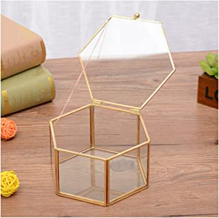 Alrsodl Exquisite Faceted Hexagonal Gilt Metal Geometric Shape Clear Glass Hinged Top Lid Flower Room Plant Terrarium Box Jewelry Box Handicraft for Tabletop Home Decoration