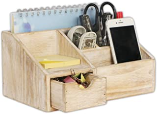 $21 » EMAISON Rustic Wooden Desk Organizer and Sorter, Office Supplies Holder with Drawer for Mail, Pen Pencils, Cosmetics, 5 Compartments (Nature 9.5 x 6 x 5 Inches)