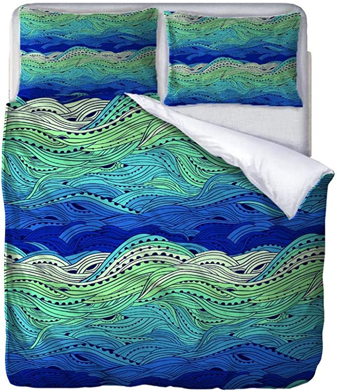"""- Single Size Quilt Duvet Cover Set Abstract Seaweed Printed Bedding Set,3Pcs With Zipper Closure In Polyester,1 Quilt Cover 2 Pillowcases,For Teens Adults 55""""X79""""/140Cm(W) X200Cm(H)"""