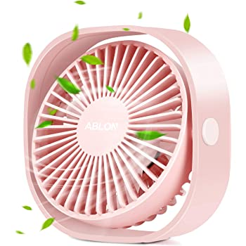 ornerx USB Rechargeable Desk Fan with Light Cute