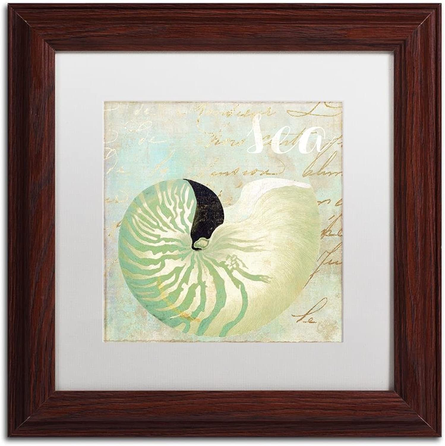 Trademark Fine Art ALI4645W1111MF Turquoise Beach I by color Bakery, White Matte, Wood Frame 11x11