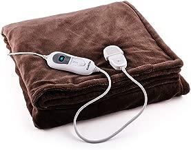 Klarstein Dr. Watson XL - Manta eléctrica , Frazada eléctrica , Calentador de cama , 180 x 130 cm , Potencia 120 W , 3 Temperaturas regulables , Temporizador , Marrón XL