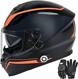 Bluetooth Integrated Motorcycle Helmet, FreedConn DOT Full Face BM12 Communication System Motorcycle Helmet with 500m FM radio/ MP3, 2-3 Riders Pairing Intercom (Multi-Color, L)