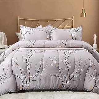Nanko Queen Comforter Set 3pc, Reversible Down Alternative Microfiber Bedding - Light Grey Plum Blossom Flower/Floral All ...