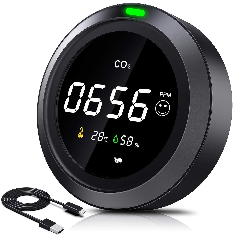 Curconsa Medidor de CO2, 3 en 1, con temperatura ambiente y humedad de 0-5000 ppm, batería de litio recargable de 2400 mAh, adecuado para dormitorio, oficina, coche