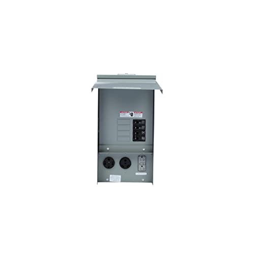 Meter Socket Provision Siemens TL77RT Talon Temporary Power Outlet Panel with Two 20A Duplex Receptacles Installed Includes a Top Fed Ringless Type