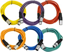 SEISMIC AUDIO - SAXLX-10-6 Pack of 10' Multiple Color XLR Male to XLR Female Patch Cables - Balanced - 10 Foot Patch Cords