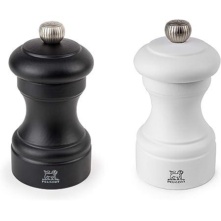 Peugeot Bistro 4 Inch Black Matte Pepper Mill and 4 Inch White Matte Salt Mill Set