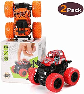 BBLIKE Pull Back Cars Toys, 2-Packs Monster Truck Toys,Four-Wheel Drive Inertia Car Toys, Friction Powered Cars Push Go Truck and Car Party Favors for Toddlers Boys Age 2-5 Year Toddler