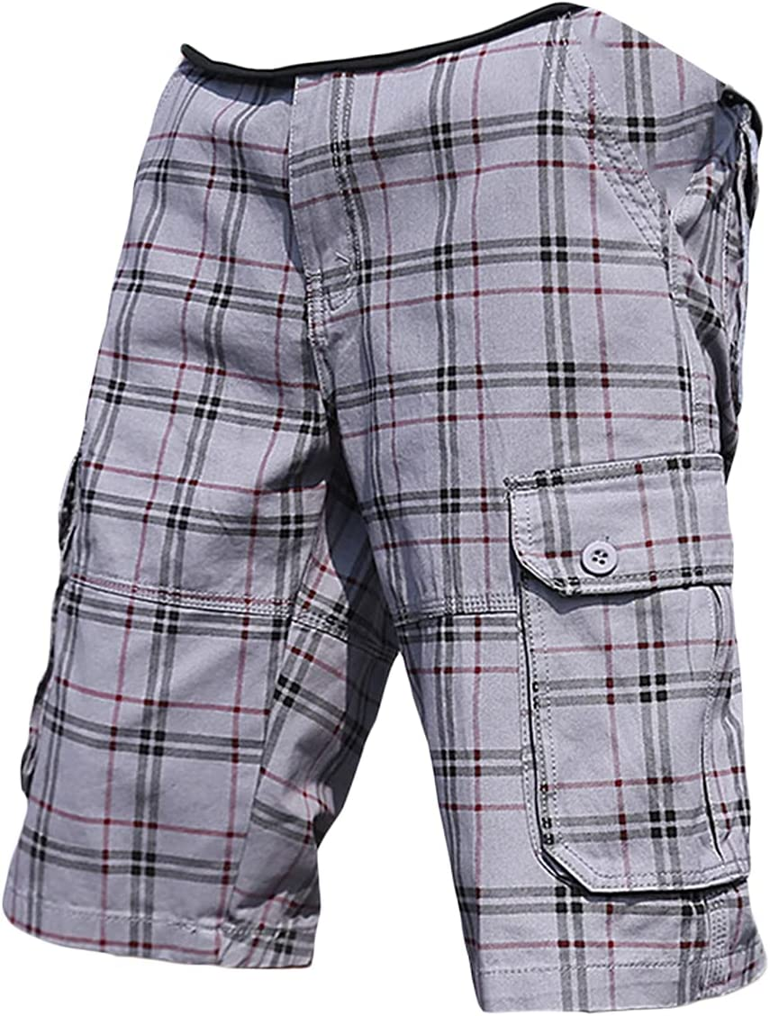 Men's Relaxed Fit Plaid Cargo Shorts Multi-Pockets Comfy Cotton Short Baggy Fashion Knee-Length Checks Pattern Short Pant (Light Grey,36)