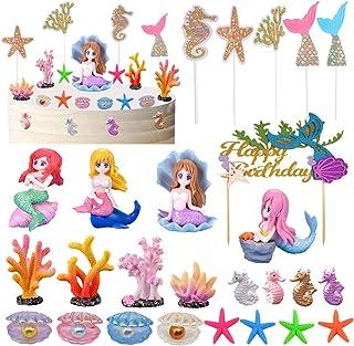 Mermaid Cake Topper, Mermaid Cake Decoration for Birthday, Wedding, Baby shower, Mermaid Party Favors Supplies