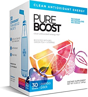 Pureboost Clean Energy Drink Mix + Immune System Support. Sugar-Free Energy with B12, Multivitamins, Antioxidants, Electro...
