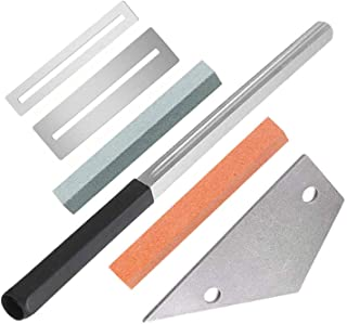 Guitar Luthier Tool Kit Included Guitar Fret Crowning Luthier Dressing File with Narrow/Medium/Wide 3 Edges, Stainless Steel Fret Rocker, 2 Pcs Fingerboard Guards Protectors and Grinding Stone