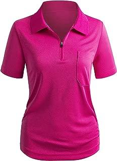 Women's SportWear POLO Shirt Zip-up Pocket Short Sleeve